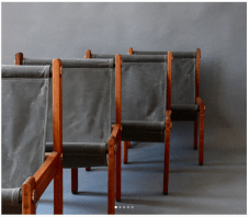 Reimagined sling chairs in waxed canvas.