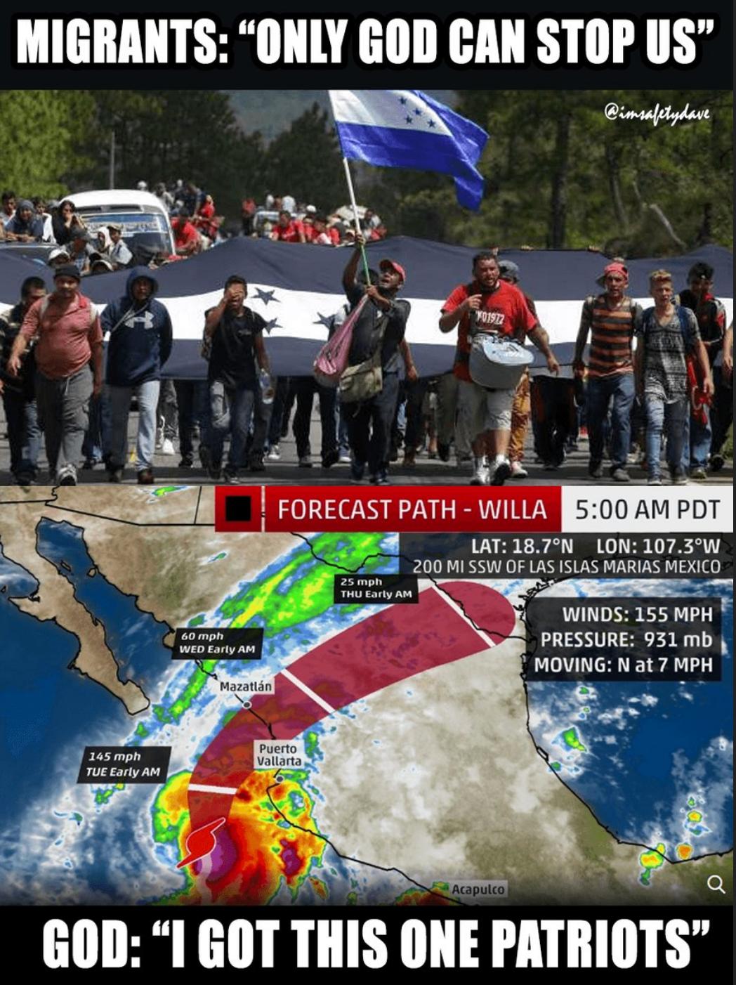 Migrants vs Hurricane