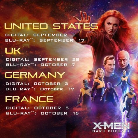 X-Men: Dark Phoenix Blu-Ray Release Date Confirmed