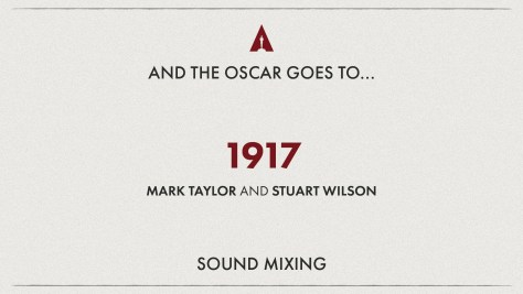 Best Sound Mixing: 1917 - Oscars 2020