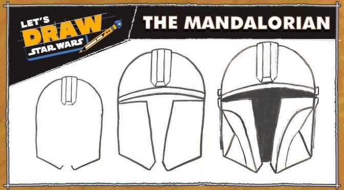 Let's Draw Star Wars | How to Draw a Mandalorian Helmet