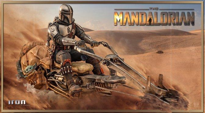 The Mandalorian Din Djarin And Grogu On Speeder Bike From Iron Studios
