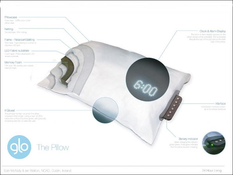 glo pillow waking up with the sunrise