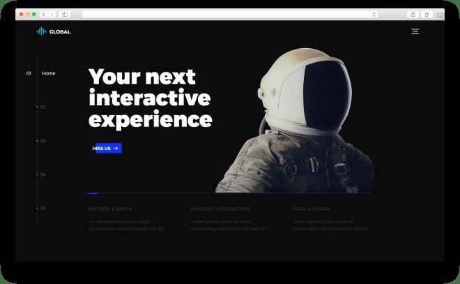 Global | Бесплатный футуристический HTML5 шаблон портфолио