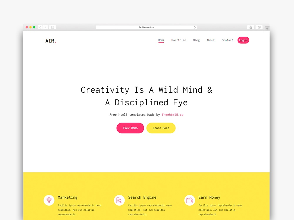 Air Free HTML5 Bootstrap Template for Portfolio and Landing Pages