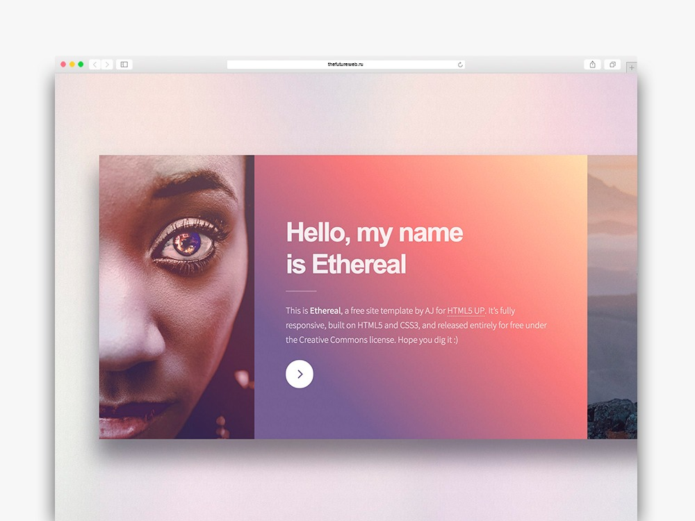 Ethereal is a free One Page HTML template featuring a unique horizontal-scrolling layout