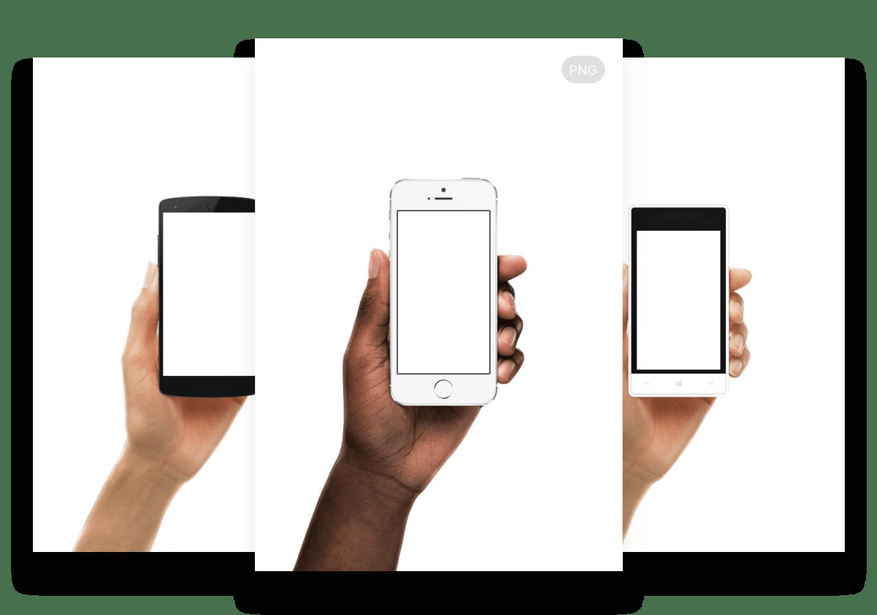 Разные руки с устройствами в руках на прозрачном фоне PNG