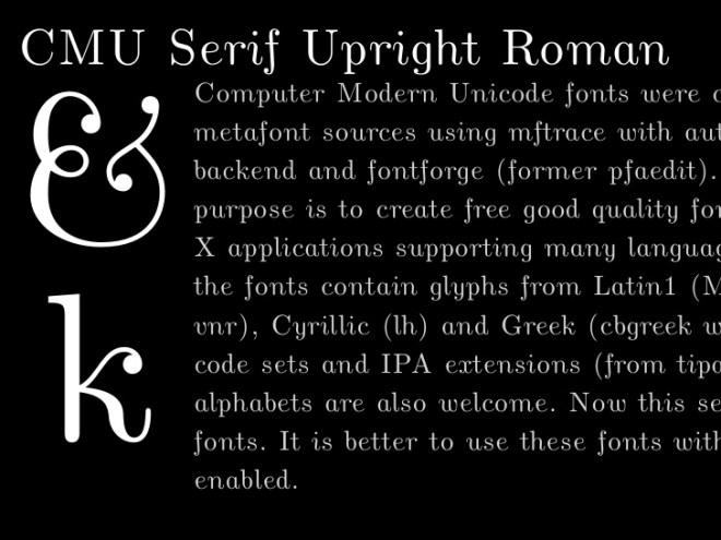Computer Modern Unicode бесплатное шрифтовое семейство от Donald E. Knuth