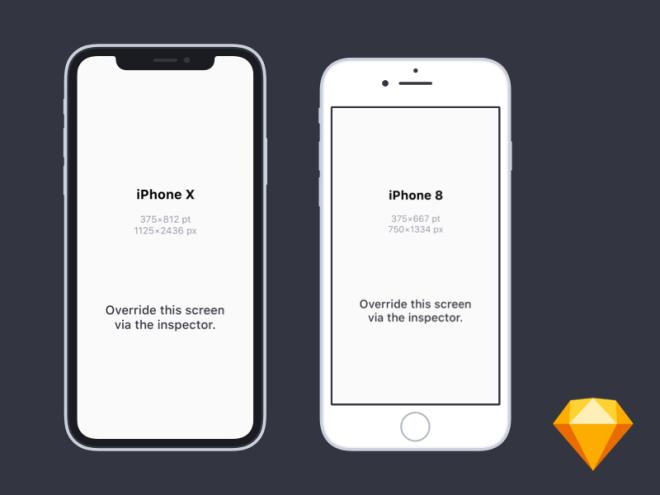 Бесплатные мокапа новых iPhone X и iPhone 8 для Sketch