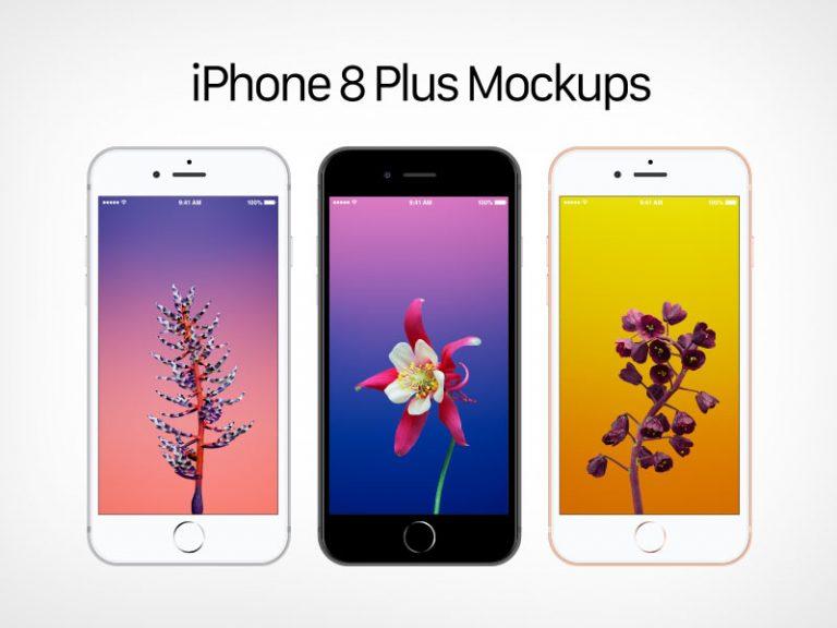 Бесплатные векторные мокапы Apple iPhone 8 Plus в форматах Ai и EPS