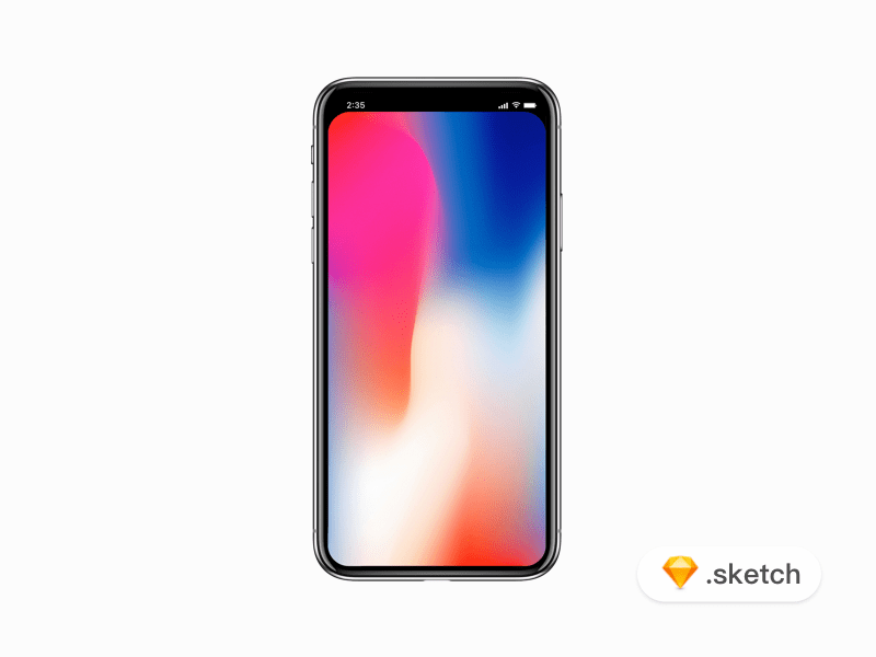 iPhone X mockup with Filled status bar