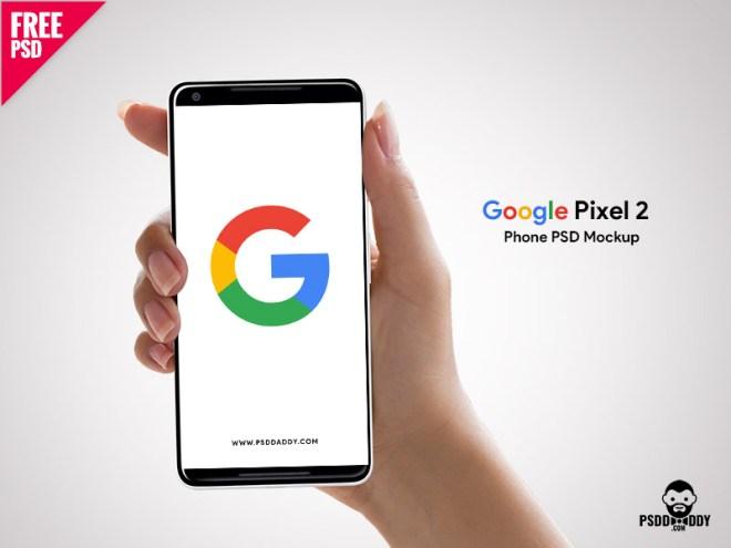 Бесплатный PSD макет телефона Google Pixel 2 в руке