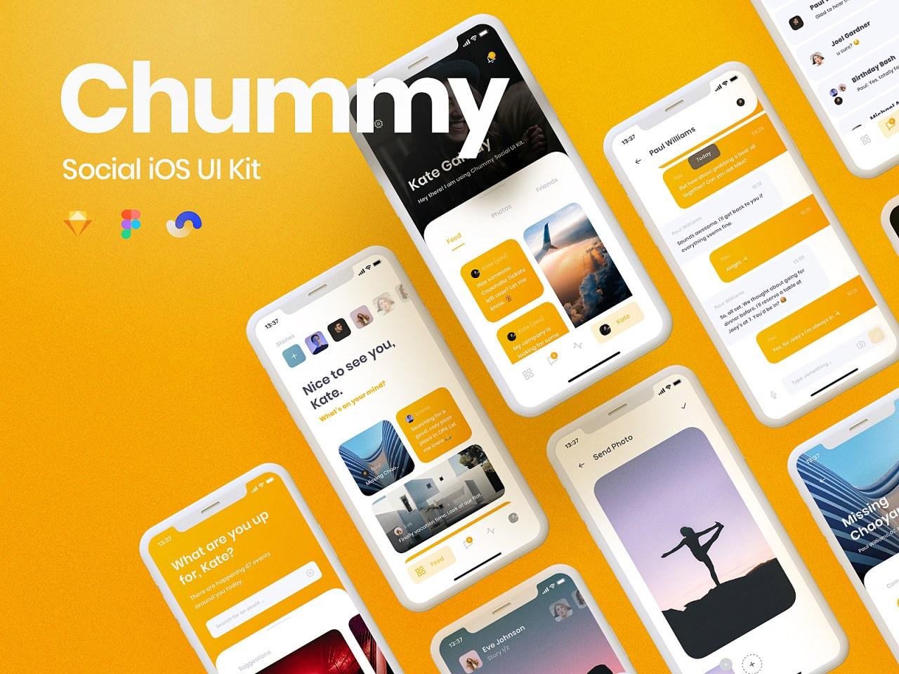 Chummy Social iOS UI Kit – Набор пользовательских интерфейсов iOS для социальных сетей основанный на системе дизайна Shift