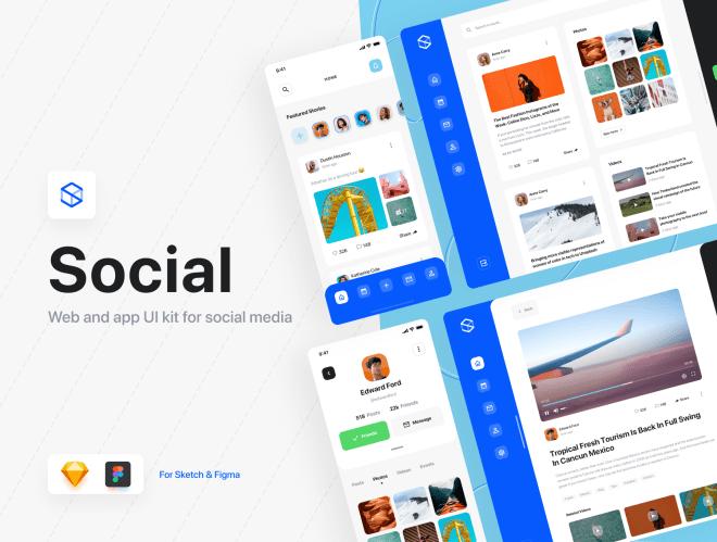 Social Dashboards UI Kit – Красивые, отзывчивые дашборд для веб и мобильных приложений
