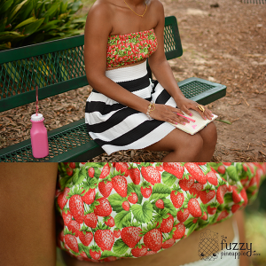 Fresh Strawberries Custom Reversible Bandeau Top