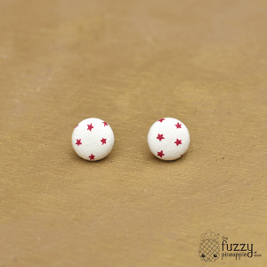 Star Power in Cream and Red M Fabric Button Earrings