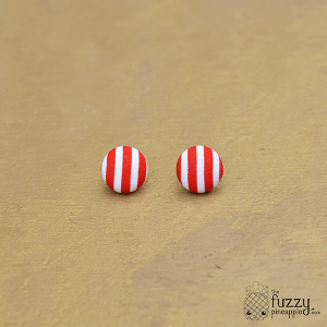 Red and White Stripes M Fabric Button Earrings