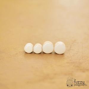 White Chunky Candy Dot Earrings