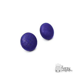 Solid Indigo M Fabric Covered Button Earrings
