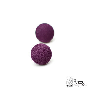 Solid Plum M Fabric Button Earrings