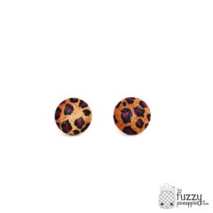 Leopard Cat M Fabric Button Earrings