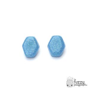 Periwinkle Glitter Hexagon Earrings