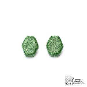 Shamrock Glitter Hexagon Earrings