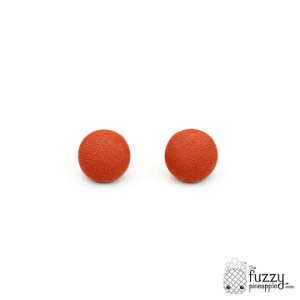 Solid Mahogany M Fabric Button Earrings