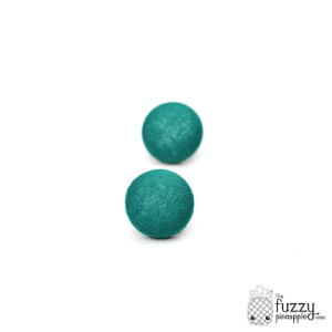Solid Teal M Fabric Button Earrings