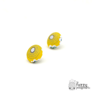 Sunburst S Fabric Button Earrings