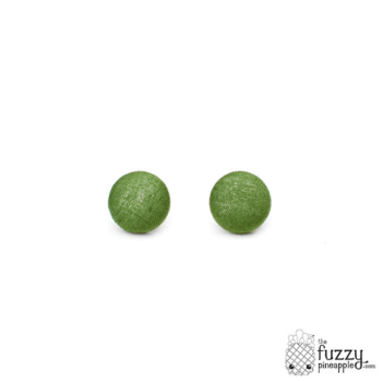 Solid Avocado M Fabric Button Earrings by The Fuzzy Pineapple