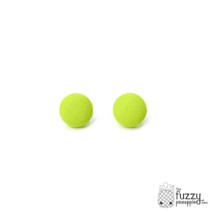 Solid Lime M Fabric Button Earrings