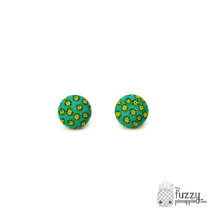 Prickly Pair M Fabric Covered Button Earrings
