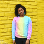 Striped Pastel Rainbow Crew Neck Sweatshirt