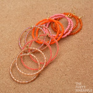 Orange Beaded Hoop Earring Collection