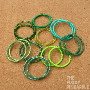 Green Beaded Hoop Earring Collection
