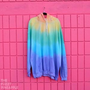 5XL – Pastel Rainbow Colorblock Hoodie RTS