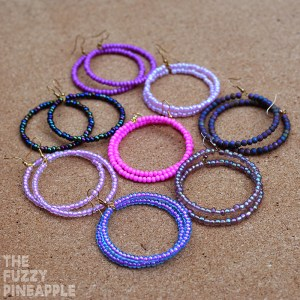 Purple Beaded Hoop Earring Collection