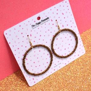 Bronze Seed Bead Hoop Earrings
