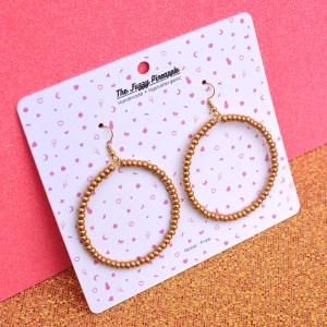 Gold Seed Bead Hoop Earrings