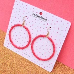 Strawberry Seed Bead Hoop Earrings