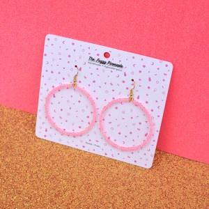 Light Pink Inline Seed Bead Hoop Earrings