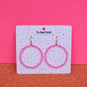Bright Pink Inline Seed Bead Hoop Earrings