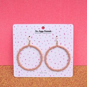Peach Puff Seed Bead Hoop Earrings