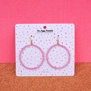 Orchid Pink Inline Seed Bead Hoop Earrings