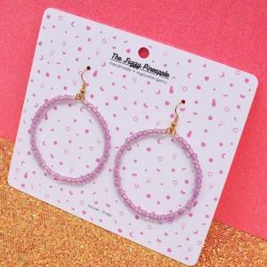 Iridescent Lavender Inline Seed Bead Hoop Earrings