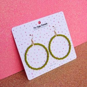 Olive Green Seed Bead Hoop Earrings