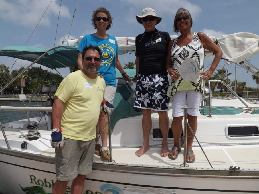 "From left, Jim and Barbara Meyers, owners of The Robbie Lee, First Mate Tom Hobgood, and passenger Julia Durocher. ""This made my holiday,"" said Julie, who is vacationing from Canada. ""It was so awesome to go out. And the rides were long!"""