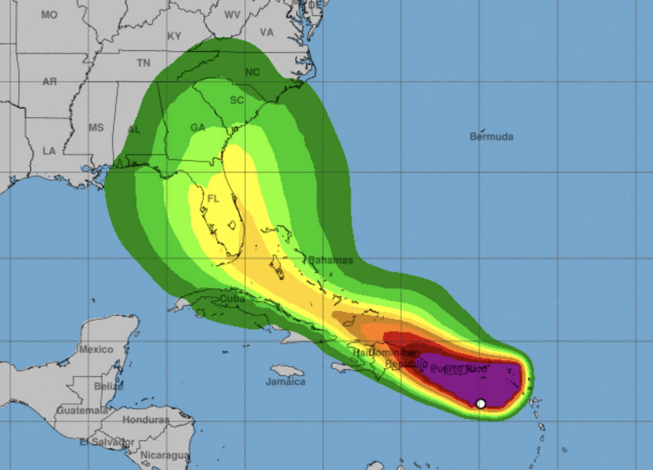 Windspeed probabilities chart over map os southeastern US and Caribbean for Isaias via NOAA