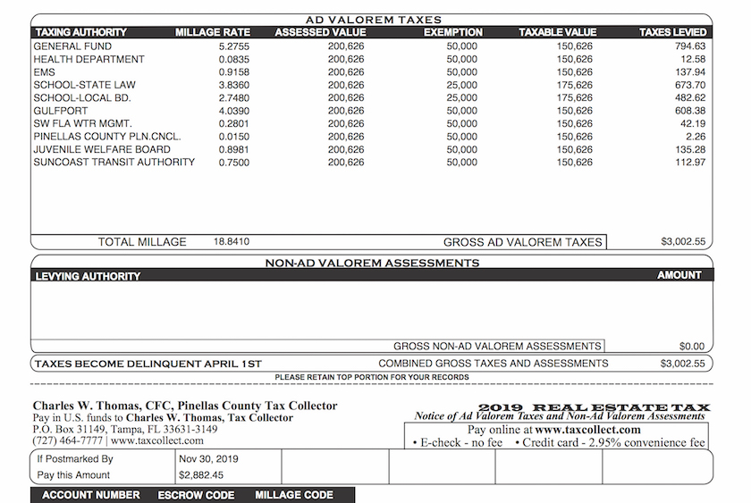 A picture of a Pinellas County utility bill 2019
